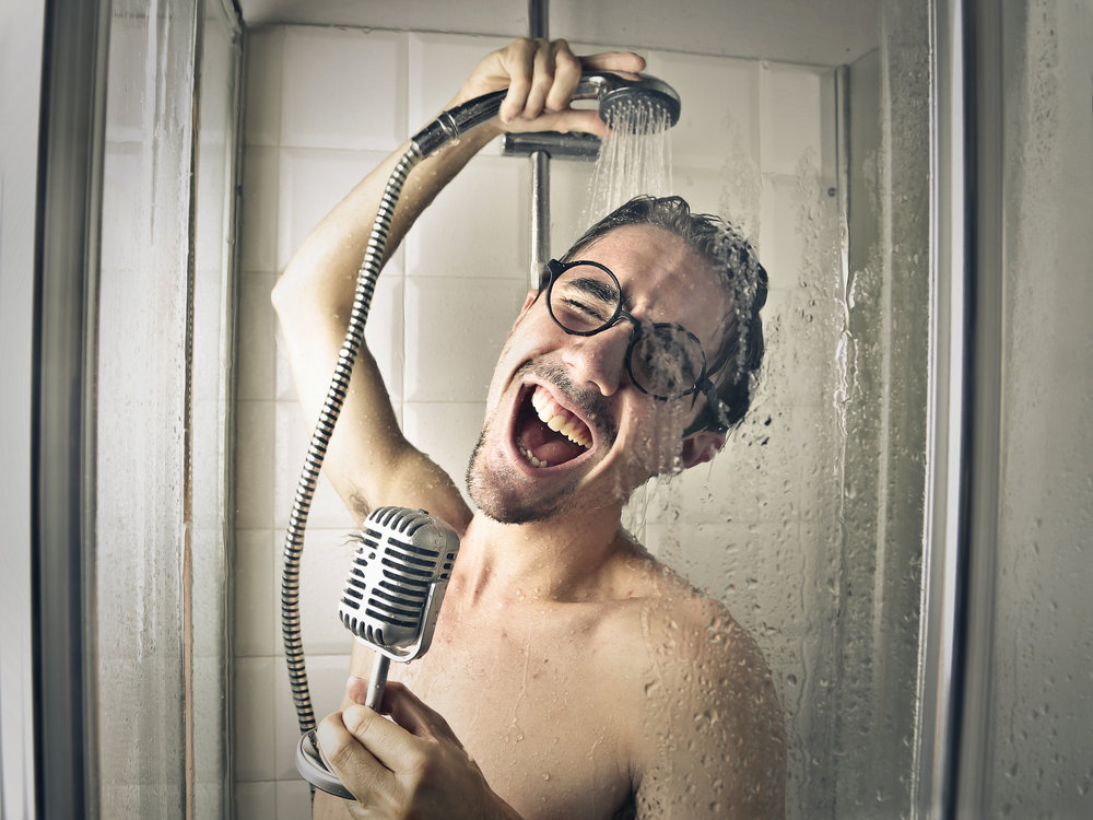 Sing a song in the shower. When the music stops, turn off the water. - 5-MIN SHOWER CHALLENGE.