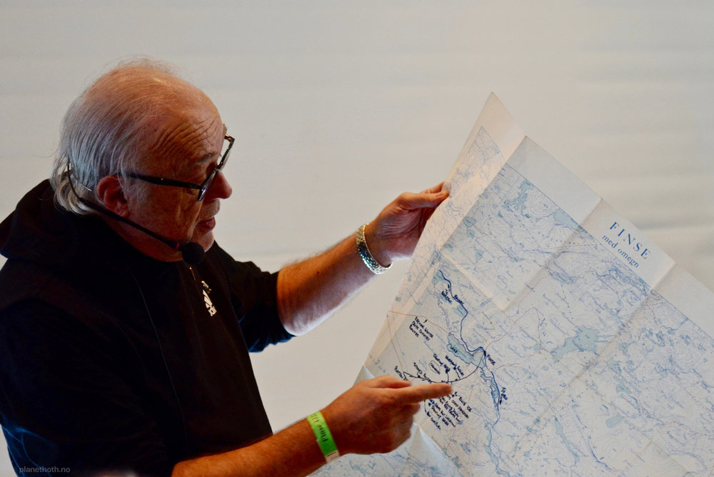 Bjørn T. Jacobsen holding the original map of the area, used during filming of The Empire Strikes Back.