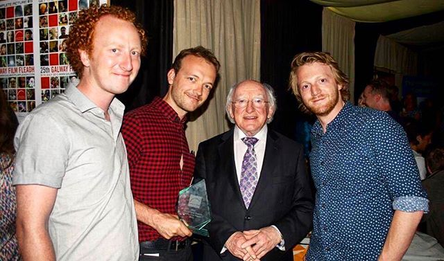 Continuing the theme of Shane and Damo meeting famous people without Jim and Mick... This is the time ourselves and our director @gkhungerdunger met The President at the Galway Film Fleadh after we won Best International Feature for Discoverdale. We're currently working on a new film with George at the moment. Hoping to share some news about it real soon. #michaeld #bestboys #momswholift