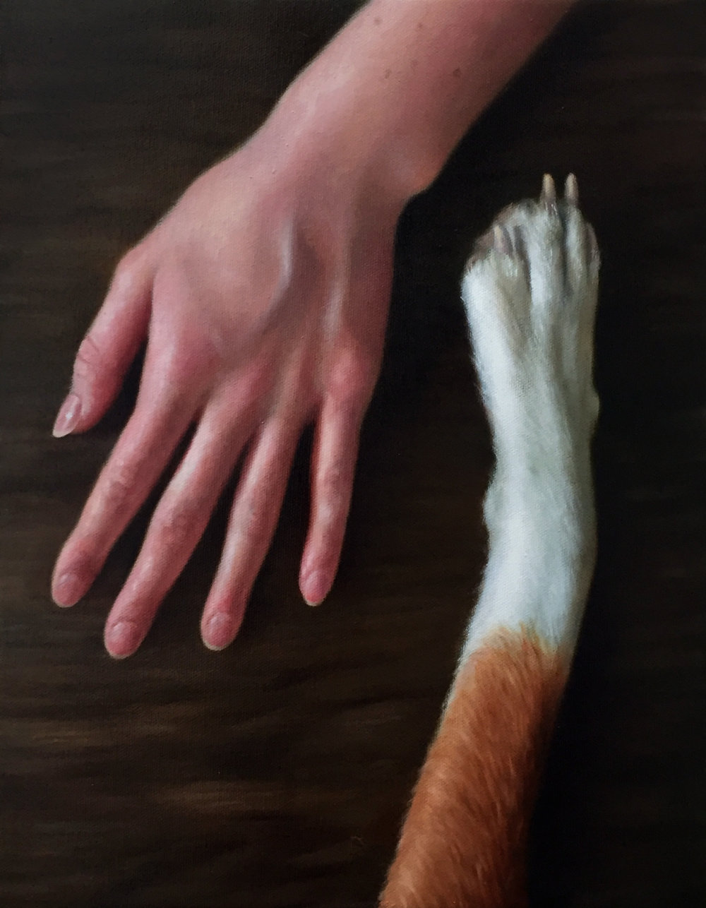 """UNTITLED (PAW & HAND)  oil on canvas 14"""" x 11"""" 2017"""