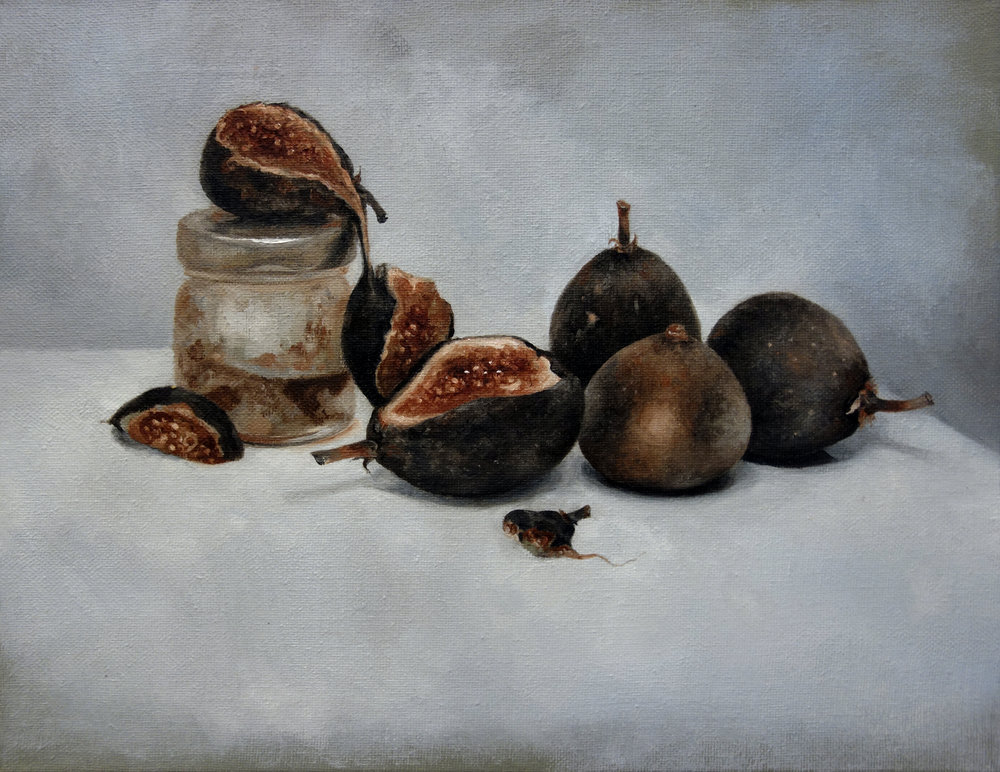 "FIGS AND FIG JAM  oil on canvas 11"" x 14"" 2014"