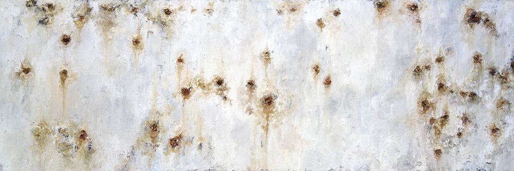 "REACT  oil on canvas 12"" x 36"" 2011"