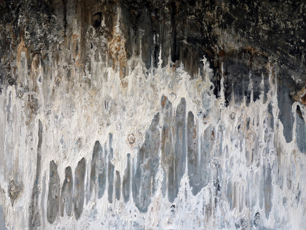 """""""WE JUST STAND AT THE JAWS OF THE CAVE""""  mixed media on canvas 36"""" x 48"""" 2011"""