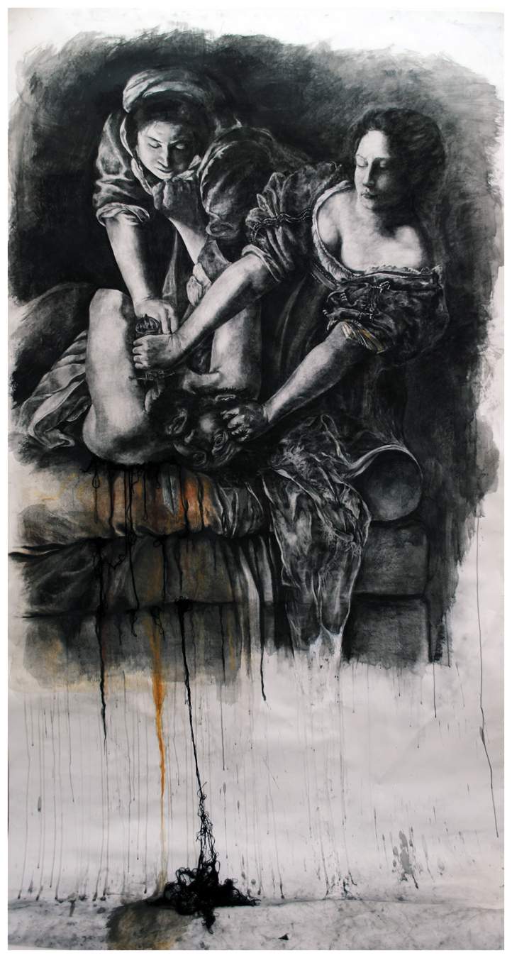JUDITH AND HOLOFERNES, AFTER ARTEMISIA GENTILESCHI  charcoal and yarn on paper  8' x 5' 2010