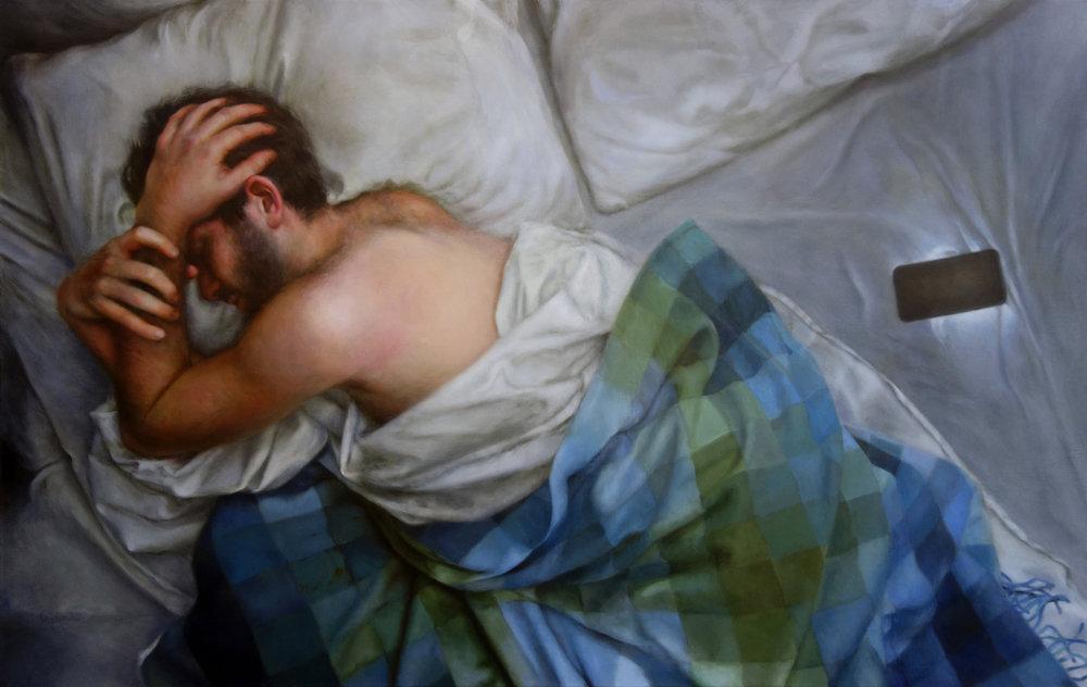 """SLEEP MODE  oil on canvas 30"""" x 48"""" 2016"""