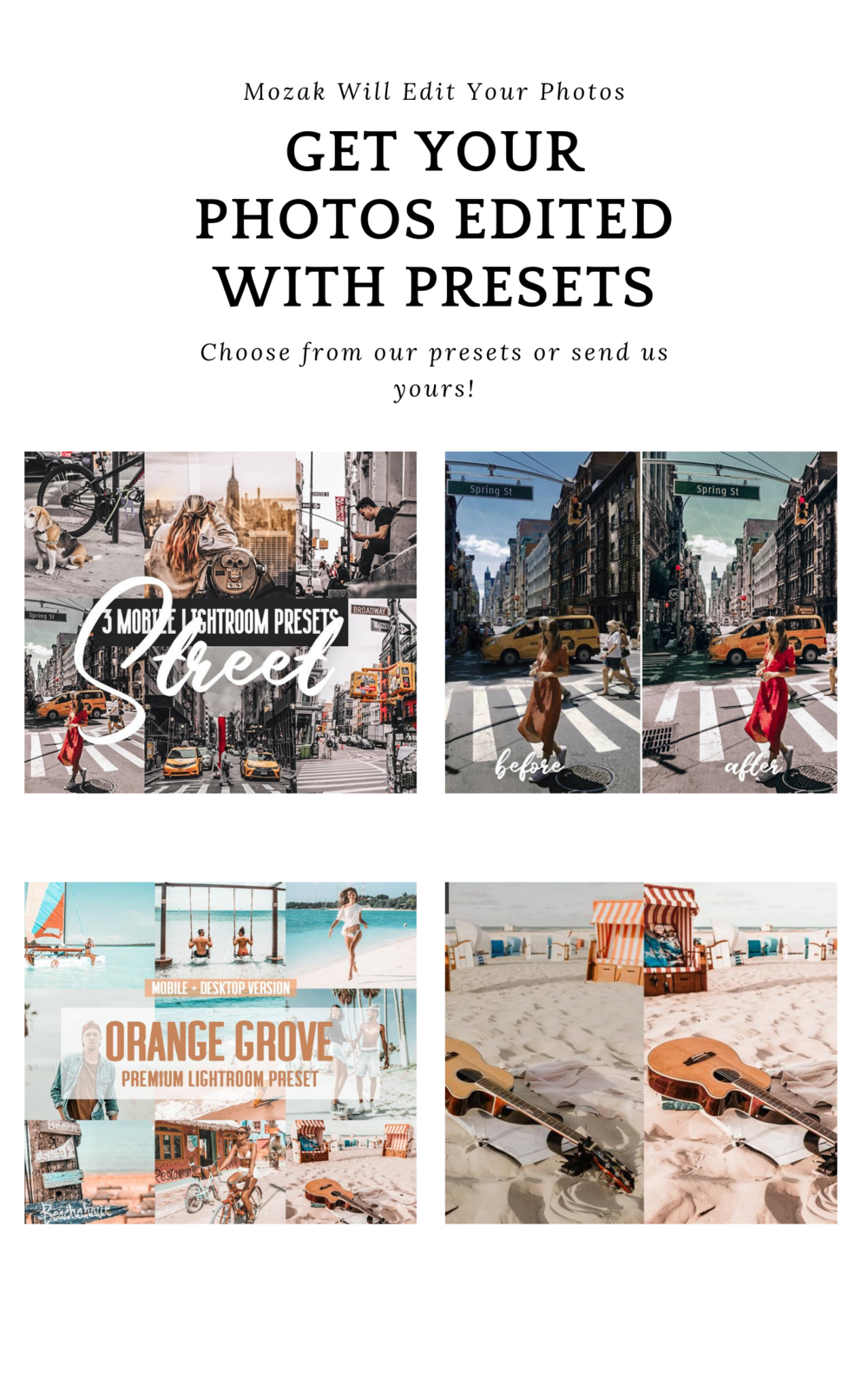 personal photos edited presets & filters - Choose from our presets or simply upload your own preset.