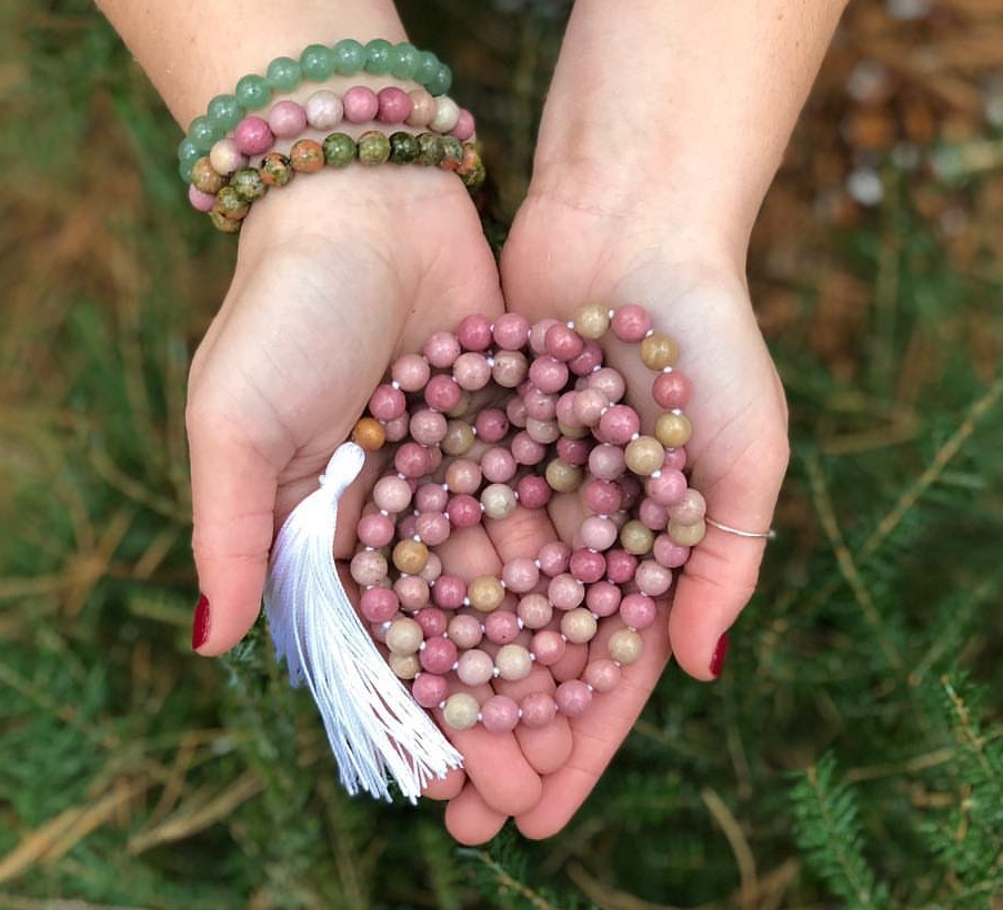 Earthly Roots - We are so excited to actively be collaborating with Sarah of Earthly Roots for the creation of our Welcome Box malas. Sarah hand-makes each mala especially created for the Connection group. Sarah is such an absolute sweet soul to work with and her pieces are infused with such magic and love.