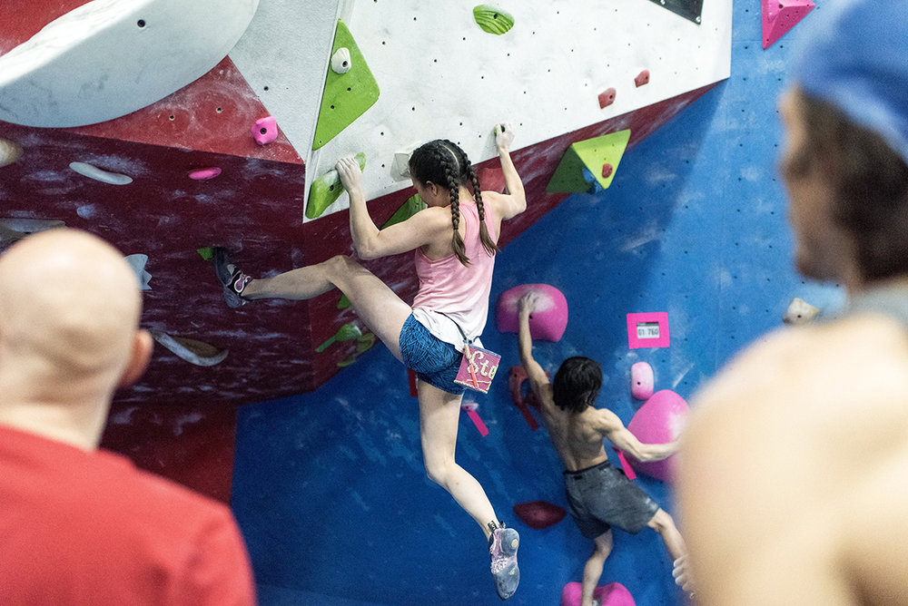 Bouldering - These shorter walls sit on gymnastics pads so you can climb them with no partner and no rope. No experience required, but you can take our Bouldering Basics class for a more formal intro.