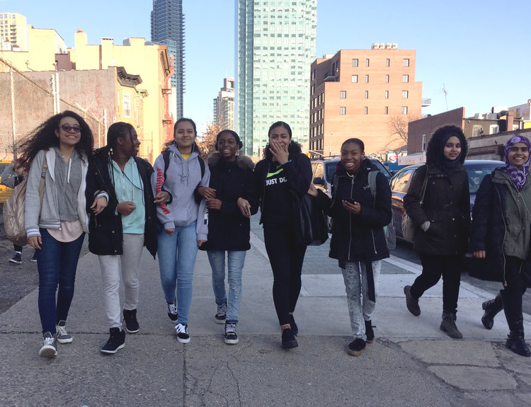 Our crushers walking down 44th Drive on their way to The Cliffs. Queens, NY  Photo by Alexis Krauss