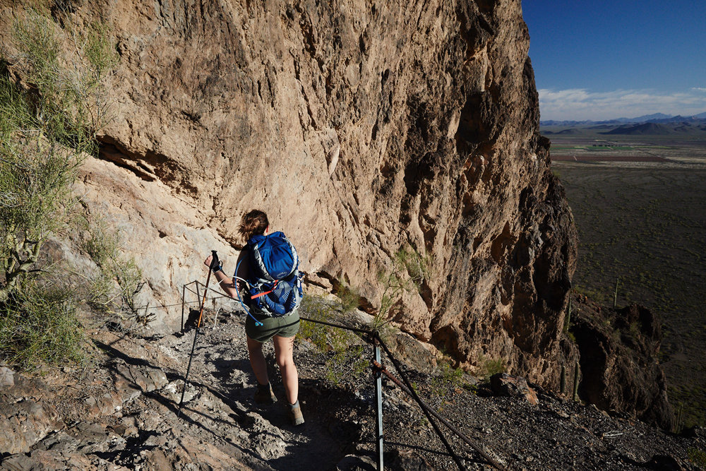 It's a sustained fairly steep climb up some switch backs till you reach the first rock wall.