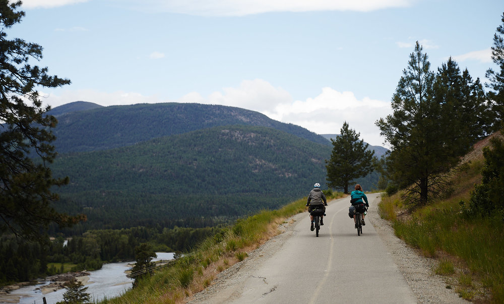The next morning we made our way towards the base of the Gray Creek Pass, with the first stretch of trail along a beautiful paved bikeway.