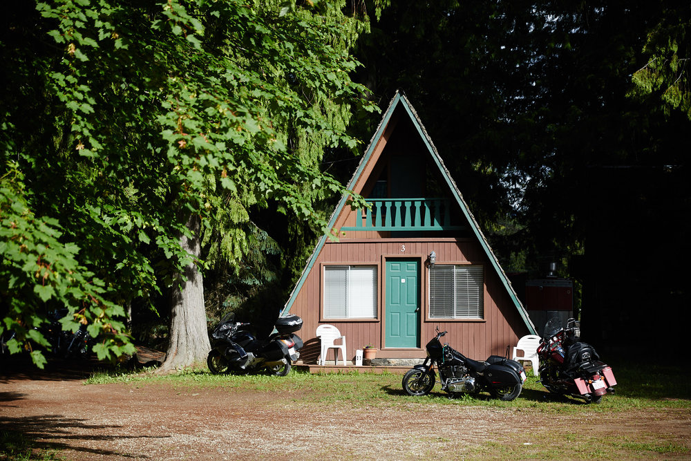 That night we stayed in one of these cool little lodges near Kootenay Lake. There also happened to be some sort of motorcycle gathering going on at the same time.