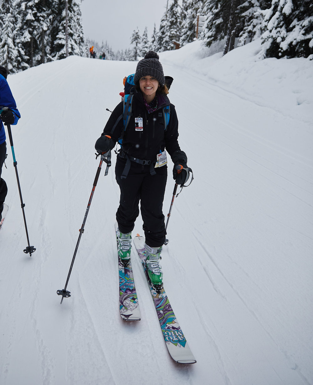 You first have to ski down a groomed cross country trail to reach the trail head.