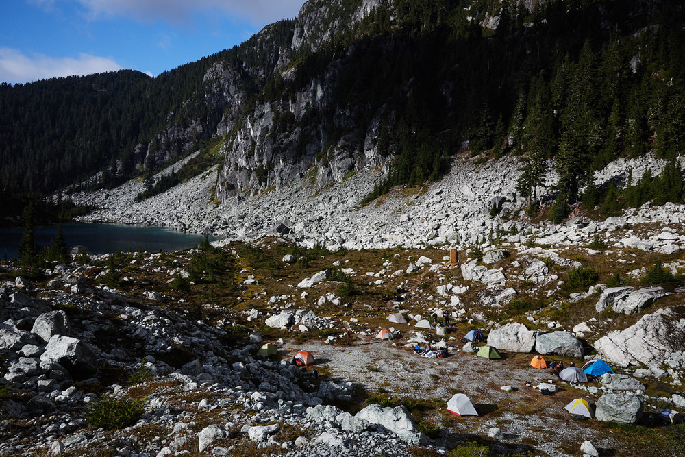 Once we setup camp, we continued up behind the lake to attempt Martin peak.