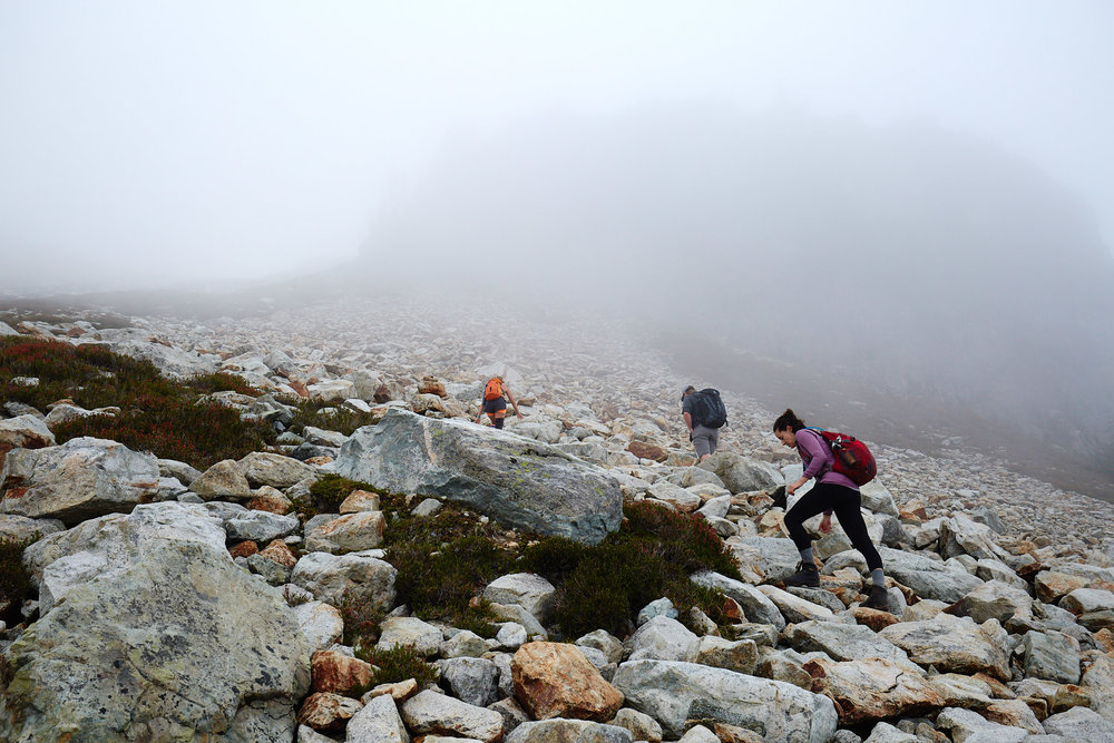 With about 500 meters of elevation left it started to get pretty socked in.