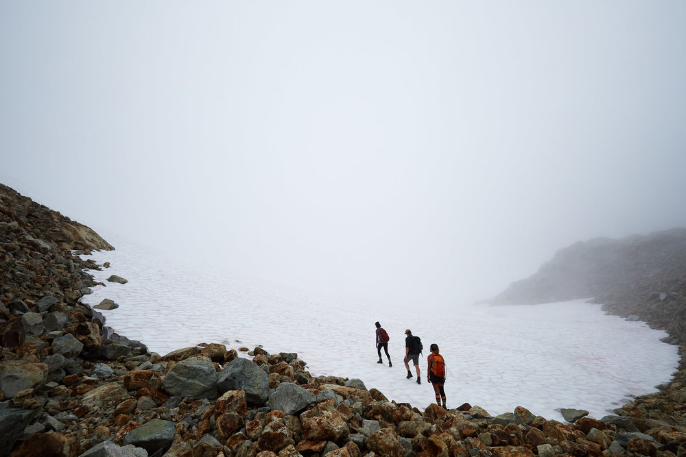 There was still a significant amount of snow, we hugged the rocks to avoid most of it.