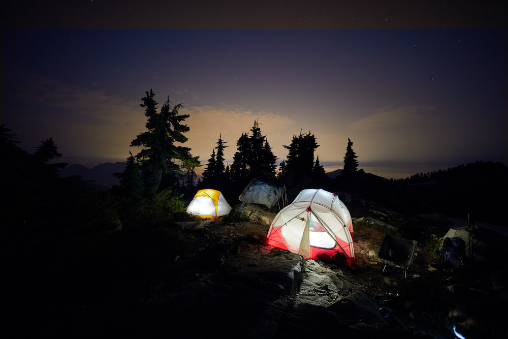 It started to get dark so we decided to make camp at the north end of the summit where we found a couple of flat spots clear of rocks.