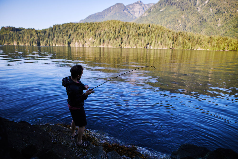 That morning Tom attempted some fishing but was only able to catch a few Rock Fish, which you have catch and release.