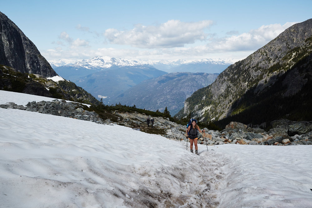 There was only a little bit of snow remaining in patches at the very top. No snowshoes or micro spikes required.
