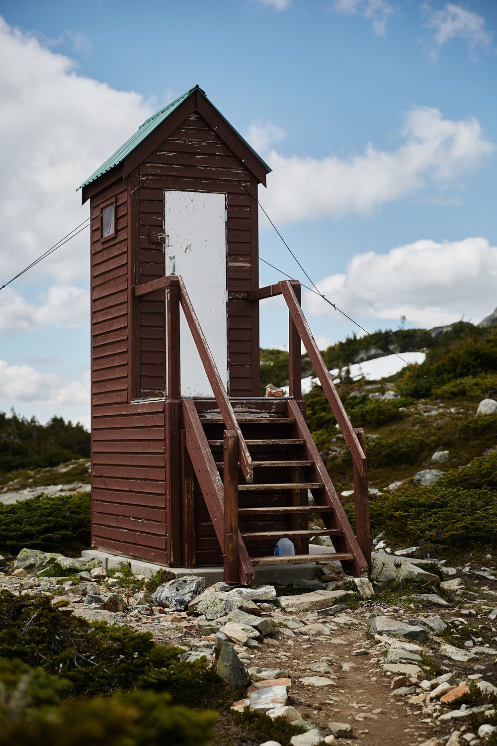 There is a nice outhouse close by the lake and hut.