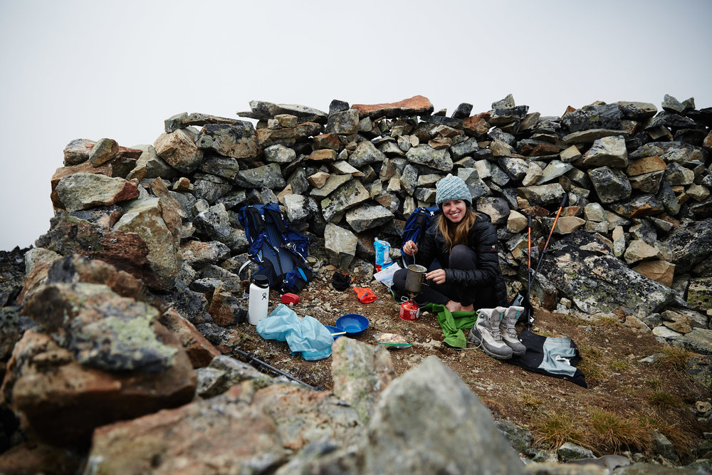 Thankfully once we reached the summit, someone had built a wind block that we were able to cook lunch and relax in.