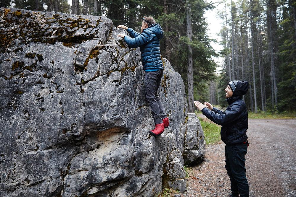 Camp bootie bouldering.