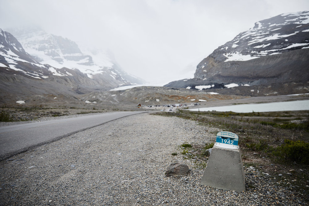 There are signs marking where the glacier used to be in the past. It's amamzing to see how far it's receded.