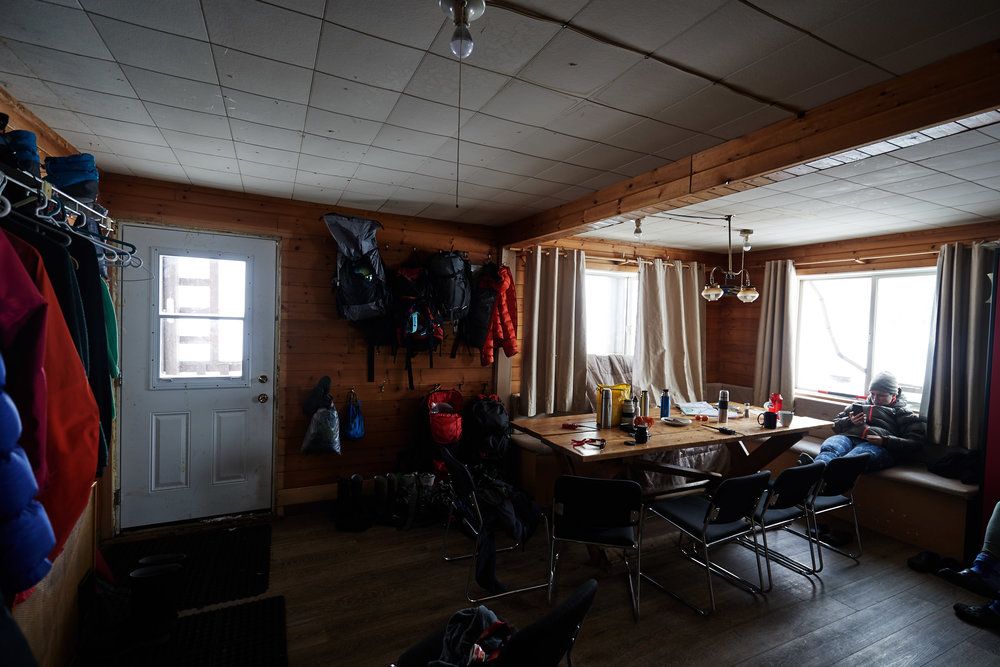 The hut was spacious with tons of places to hang your gear to let it dry each day.