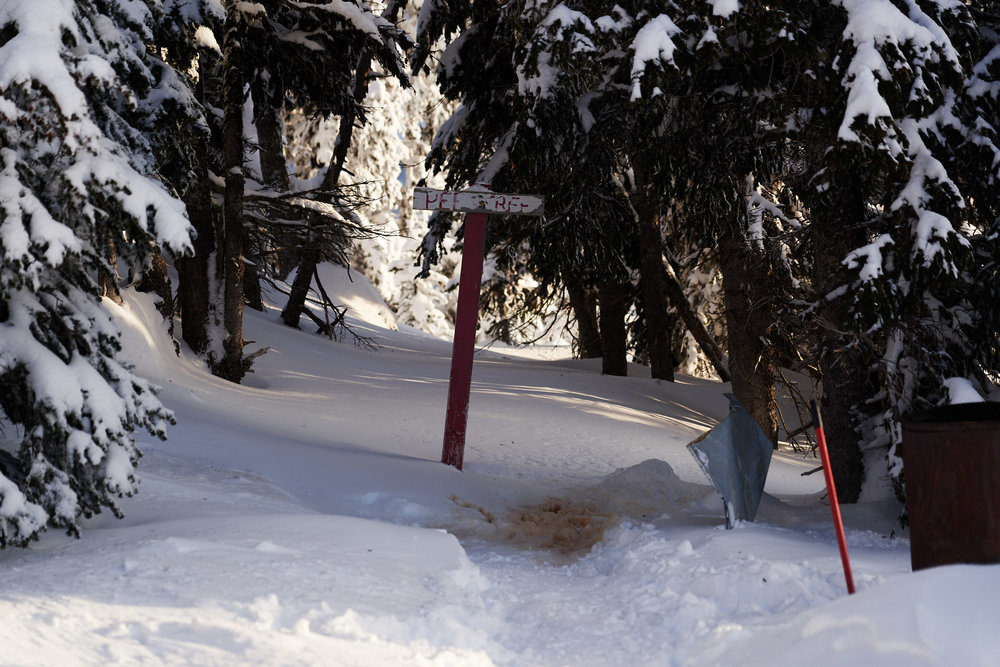 The designated pee spot to ensure that no one pees in any of the snow that you use to melt for drinking water.