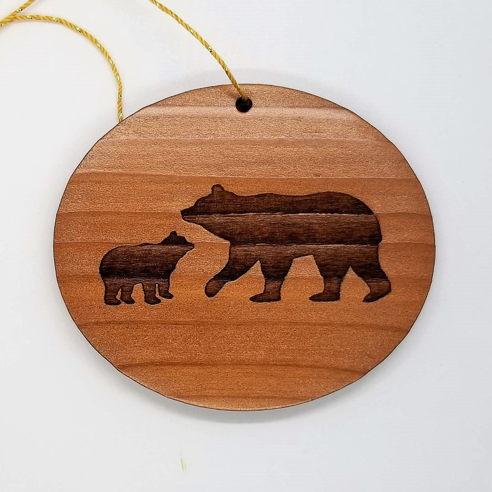 Mama Bear and Cub Redwood Ornament.jpg