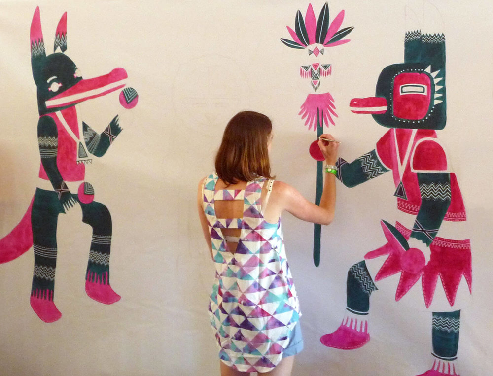 falls festival vip tent live mural, lorne