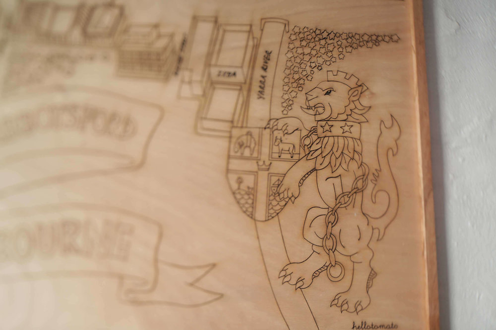 the aviary hotel laser etched map illustration on wood, abbotsford