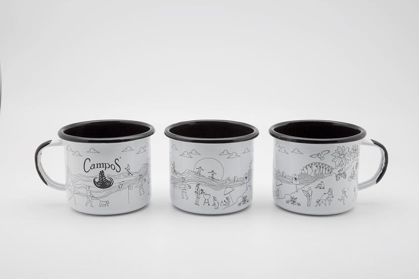 campos coffee enamel mug design