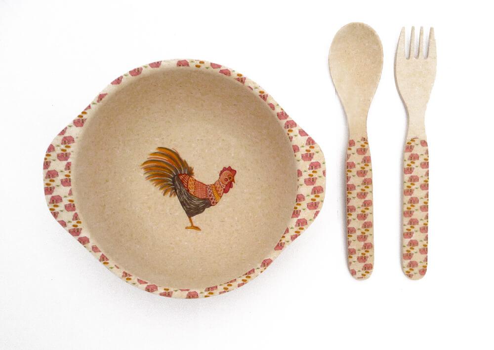 love mae bamboo children's bowl, fork & spoon design