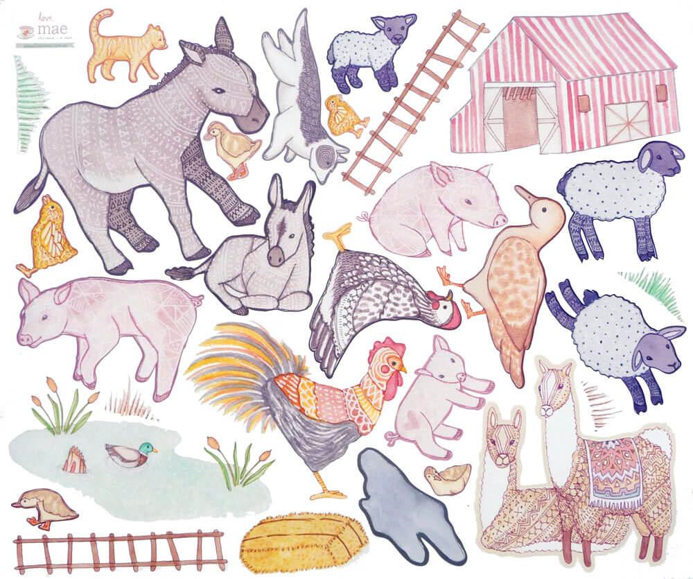 love mae children's sticker design