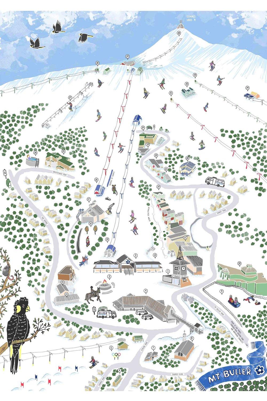 mt. buller illustrated map design
