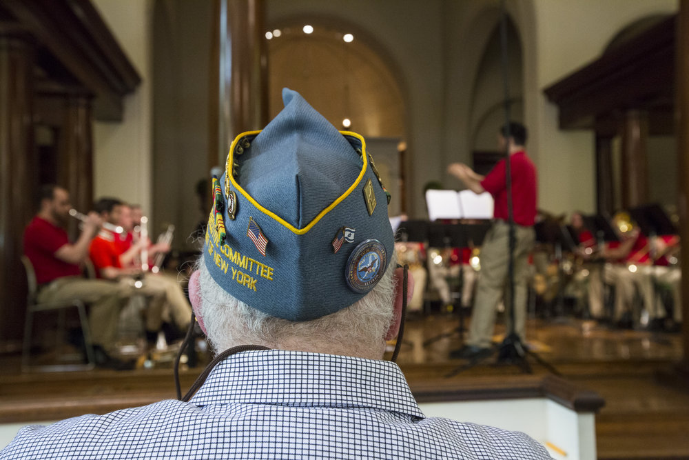 Veterans watching Patriot Brass Ensemble