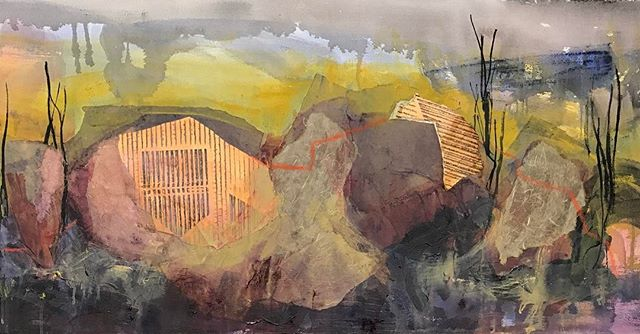 Cropped long painting. #wip #workinprogress #abstractlandscape #abstractart #newenglandartist #mixedmediaartist #collageartist #collartart #painting