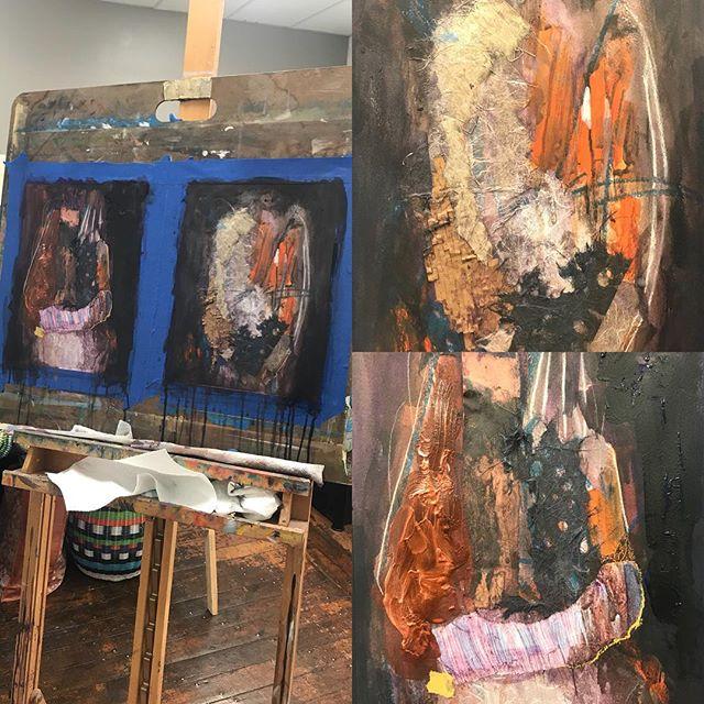 #wip #workinprogress #mixedmediapainting #painting #rhodeislandart #warrenri #30cutlerstreet #artistsofinstagram
