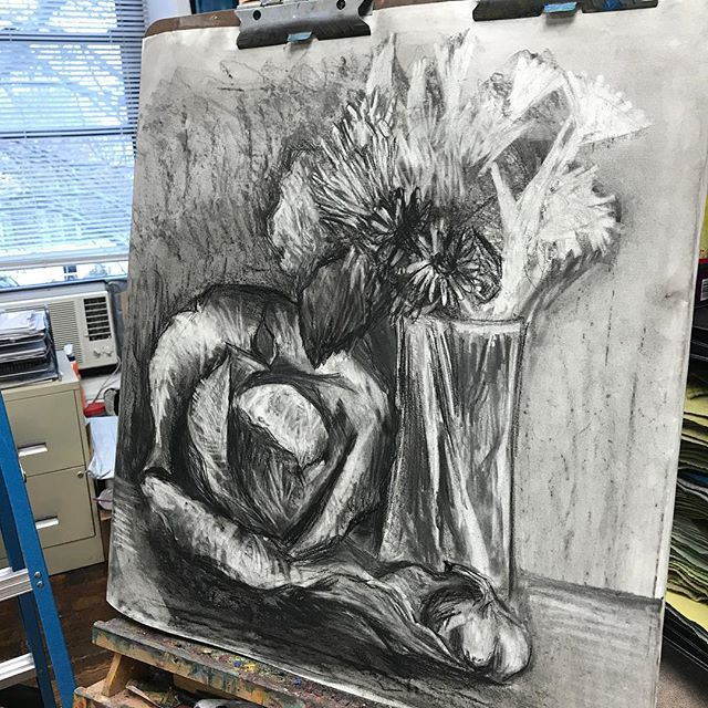 #wip #cabbage #flowers #charcoal