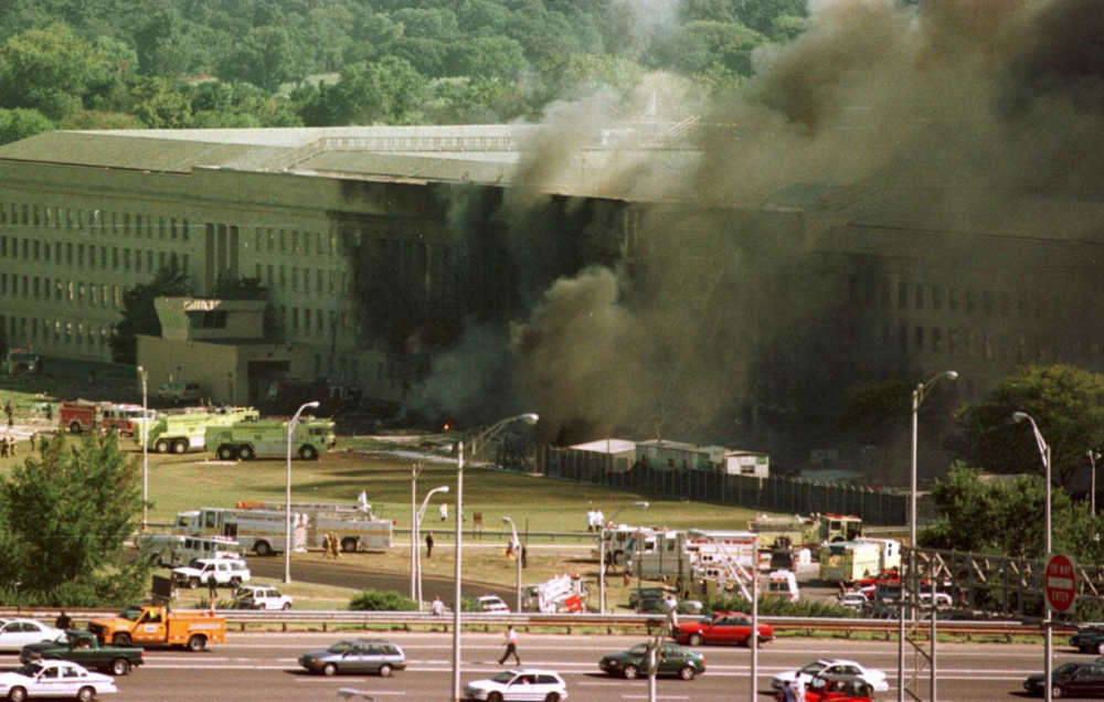 Smoke rises from the Pentagon after the crash of American Airlines Flight 77. (FBI Photo)