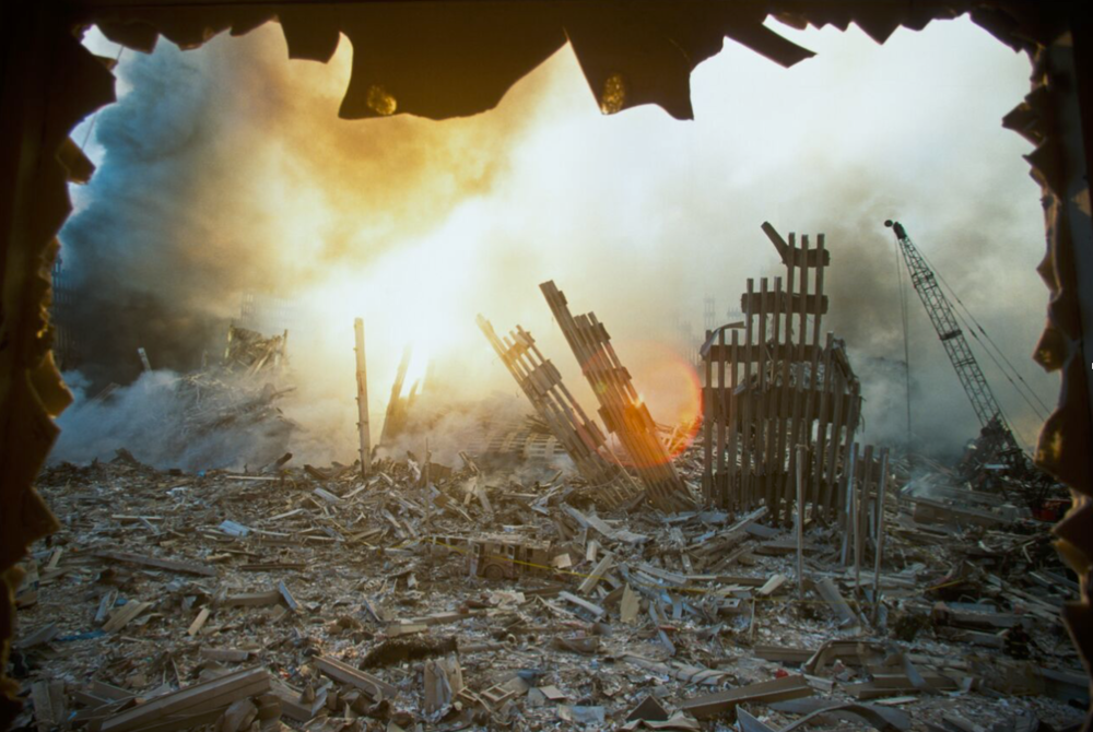 The smoldering rubble of the World Trade Center after the attacks. (Porter Gifford/Corbis via Getty Images)