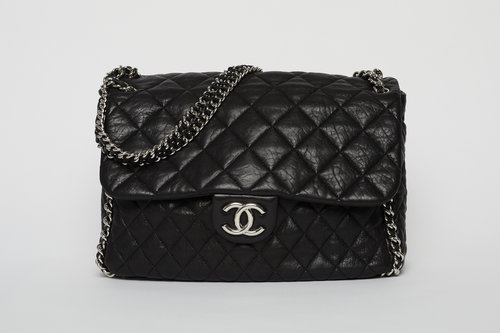 30449bd242f639 CHANEL Chain Around Flap Bag Quilted Leather Maxi ...