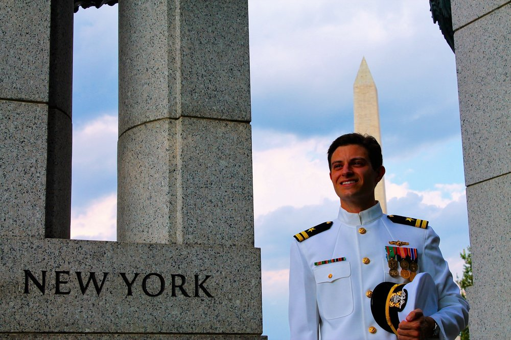 Nathan in Navy Uniform between deployments in Washington D.C.