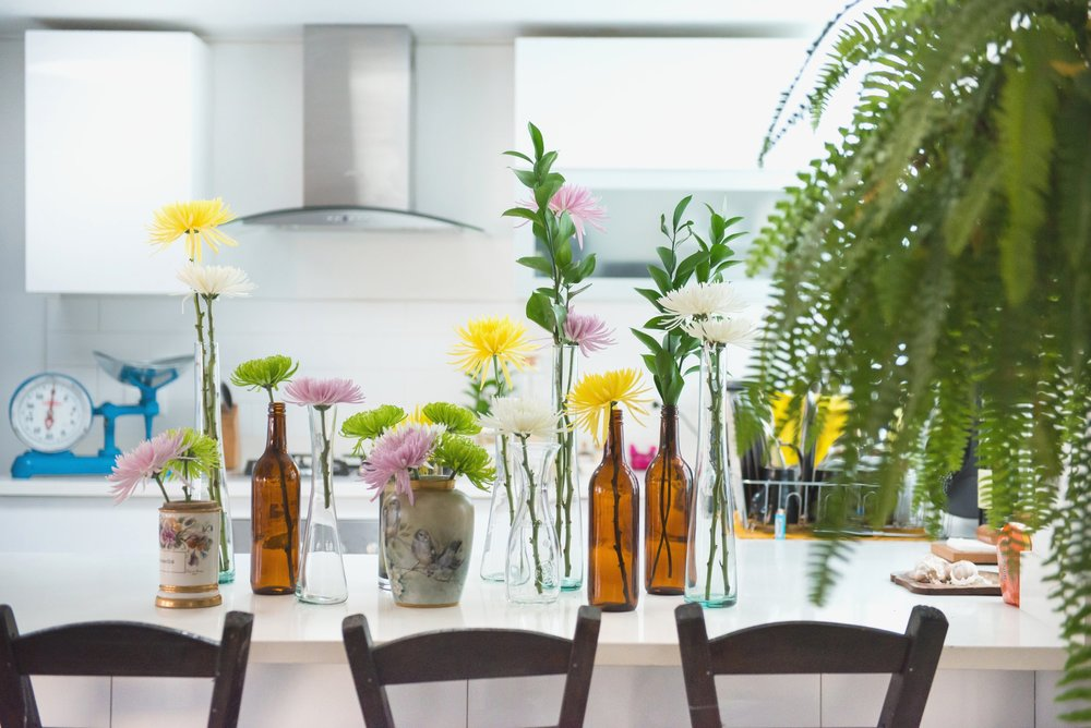 New Condos in DC - Kitchen with Flowers