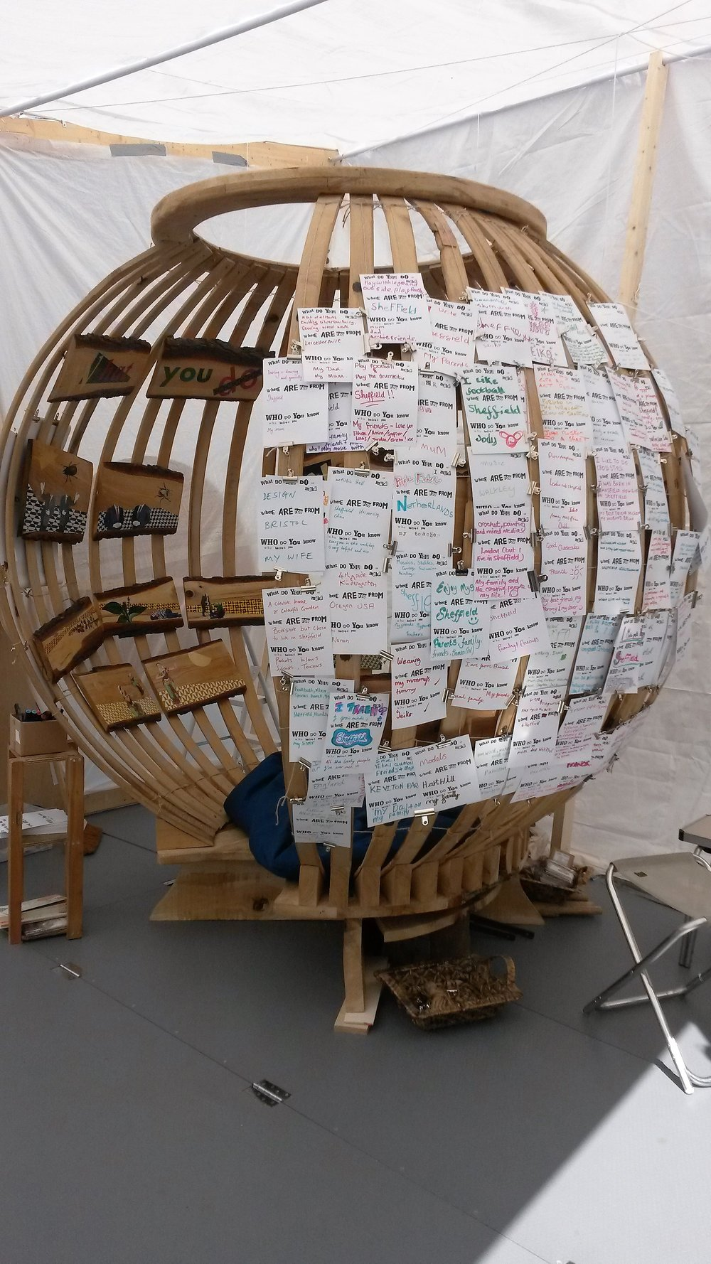 sculpture with comment cards.jpg
