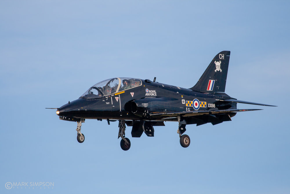 Camera-ship Hawk T1A XX198 lands at Lossiemouth.