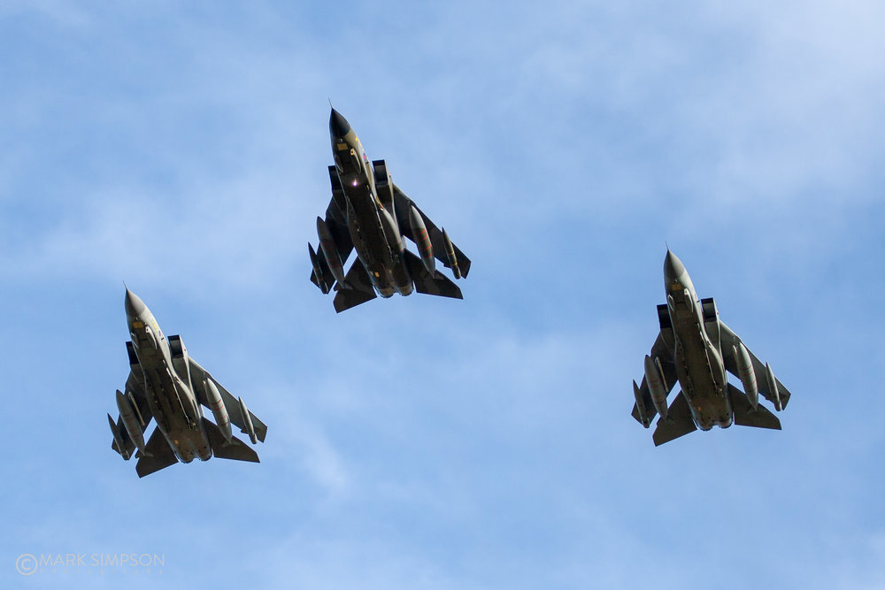 Swept wing flypast by Tonka GR.4s ZG 752/ 129 (Camouflage), ZD 716/ 084 (Goldstar) and ZG 775/ 134 (9 Squadron Special).