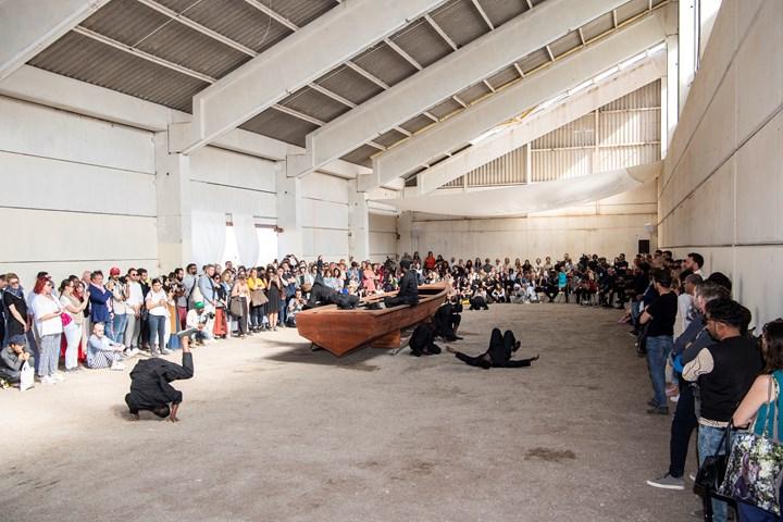 Mohau Modisakeng, Land of Zanj (2019). Performance by Thembekile Komani and Aphiwe Mpahleni Mohau Modisakeng. Performance view: Sharjah Biennial 14: Leaving the Echo Chamber , Kalba Ice Factory (7 March–10 June 2019). Courtesy Sharjah Art Foundation.