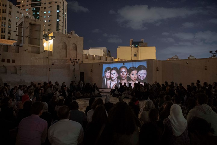 The Filipino Superwoman Band, performance with Bunny Cadag and Cathrine Go Eisa Jocson. Performance view: Al Hamdan bin Mousa Courtyard, Al Mureijah Square. Part of Sharjah Biennial 14: Leaving the Echo Chamber (7 March–10 June 2019). Courtesy Sharjah Art Foundation.